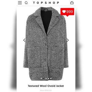 Cute TOPSHOP Ovoid Wool Jacket In Grey Sz 4 EUC!